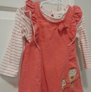 24 toddler girl owl themed corduroy dress